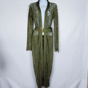 ReVamped Green Lace Belted Cardigan L